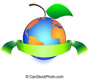 la terre, feuilles, fruit, vert, aimer
