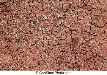la terre, fissures, rouges