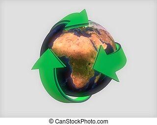 la terre, flèches, vert