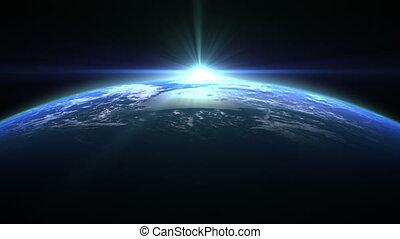 la terre, flamme, sur, bleu