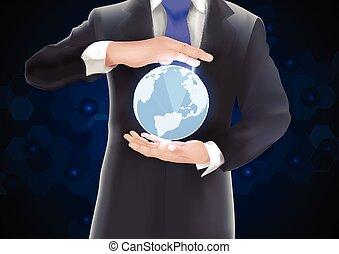la terre, fond, o, tenant mains
