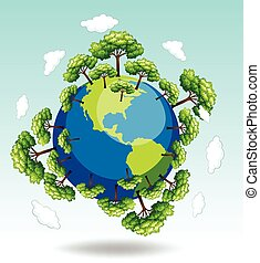 la terre, forêts, autour de