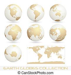 la terre, globes, colection, blanc, -, crème