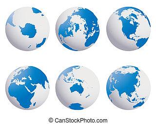 la terre, globes, ensemble