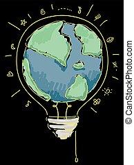 la terre, griffonnage, ampoule, illustration, lumière