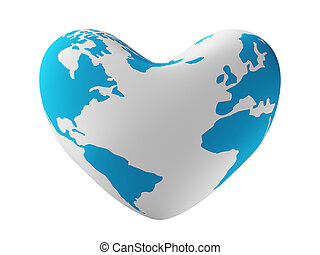 la terre, heart., image., formulaire, 3d