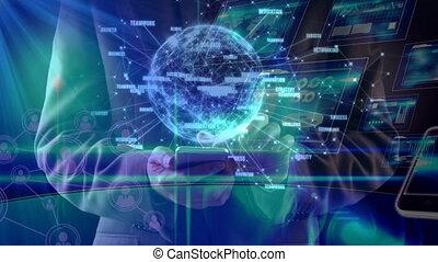 la terre, hologramme, science, composition, appareils, illustration, différent, combiné