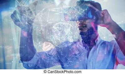 la terre, hologramme, science, composition, augmented, utilisation, combiné, homme, réalité