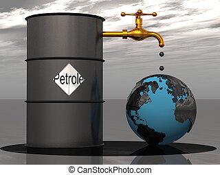 la terre, huile, égouttement