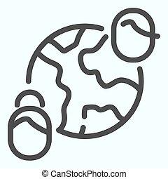 la terre, humain, 10., illustration, amitié, conception, connexion, app., isolé, icon., toile, eps, style, ligne, conçu, vecteur, global, planète, contour, communication, white.