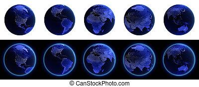 la terre, icônes, ensemble, sur, noir blanc