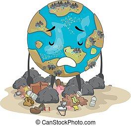 la terre, illustration, déchets, mascotte