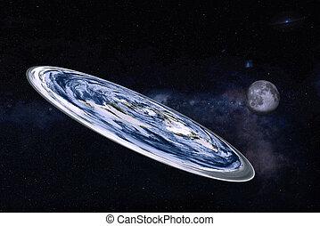 la terre, image, système, solaire, moon., éléments, meublé, nasa., plat, ceci, planète