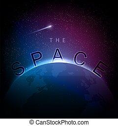 la terre, image, vecteur, levers de soleil, espace
