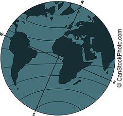 la terre, indicateur, polonais, magnétique