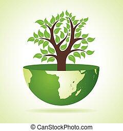 la terre, intérieur, arbre