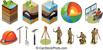 la terre, isométrique, exploration, icônes