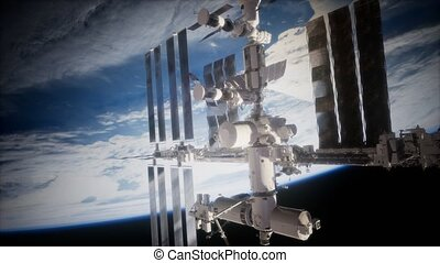 la terre, iss, orbiter, spaceship., vue