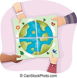 la terre, jeune, mains