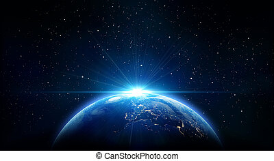 la terre, levers de soleil, bleu, vue, sp