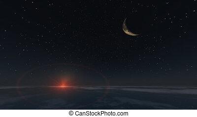 la terre, levers de soleil, lune