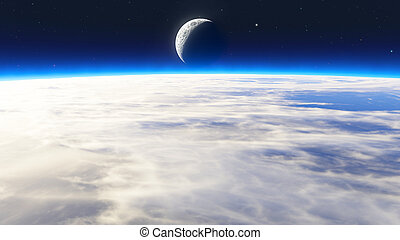 la terre, levers de soleil, nuages, étoiles, lune