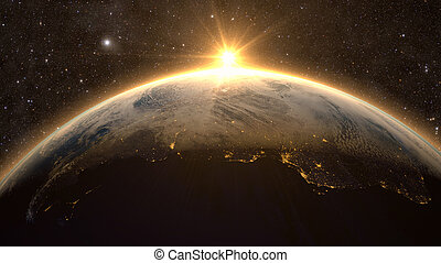 la terre, levers de soleil, vue