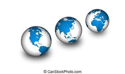 la terre, ligne, planètes, turning.