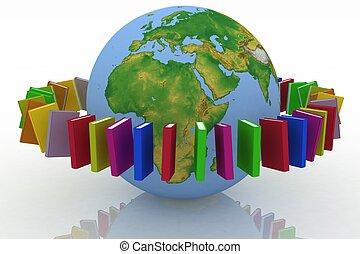 la terre, livres, rond, ceinture