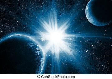 la terre, lune, espace