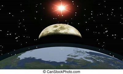 la terre, lune, soleil