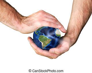 la terre, mâle, tenant mains