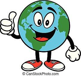 la terre, mascotte, haut, pouces