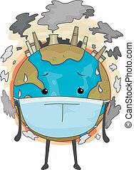 la terre, mascotte, masque pollution, air