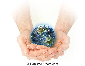 la terre, masculin, tenant mains