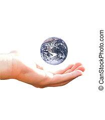 la terre, mon, main