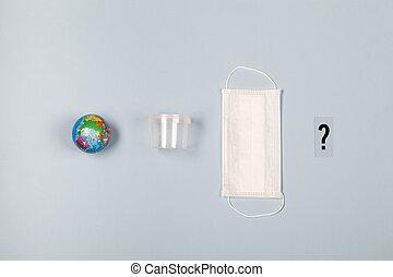 la terre, monde médical, plastique, arrière-plan., jetable, marque, bleu, masque, boîte, question