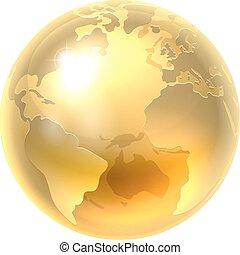 la terre, mondiale, or, icône