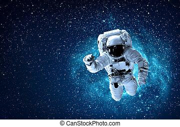 la terre, mouches, astronaute, sur, espace