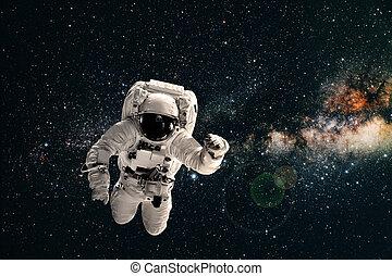 la terre, mouches, astronaute, sur, space.