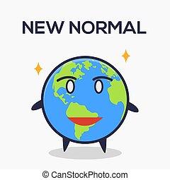 la terre, nouveau, normal, dessin animé, plat, style, ...