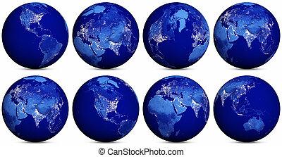 la terre, nuit, icônes, ensemble