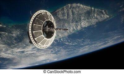 la terre, orbiter, espace, futuriste, satellite