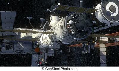la terre, orbiter, espace, international, station