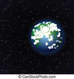 la terre, ouvert, dessin animé, espace