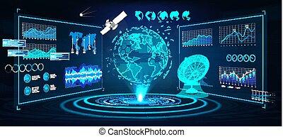 la terre, panneaux, futuriste, hologramme, hud, interface, globe