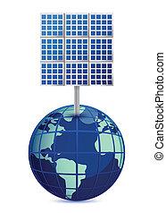 la terre, panneaux, solaire