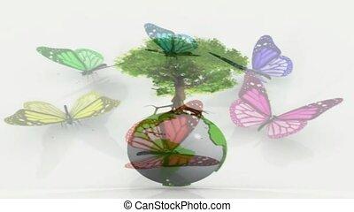 la terre, papillons, entourer