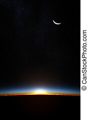 la terre, par, atmoshere, levers de soleil