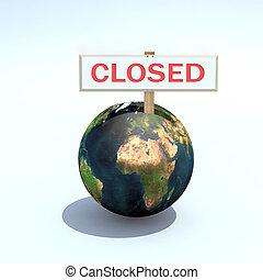 la terre, planète, écrit, signe, fermé